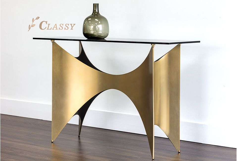Luxury Glass Console Table With Brass Base