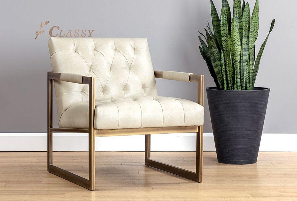 Modern Leather Chesterfield Armchair