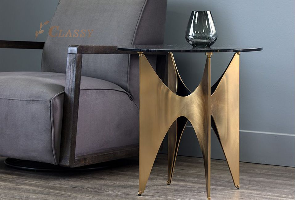 Luxury Glass Side Table With Brass Base