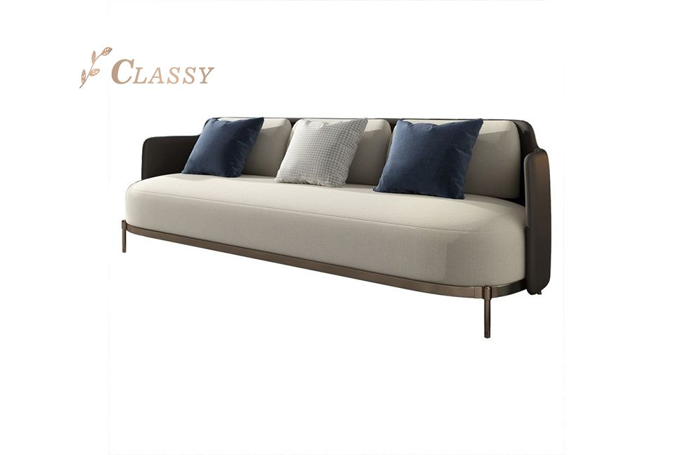 Rose Gold Frame Leather Sofa