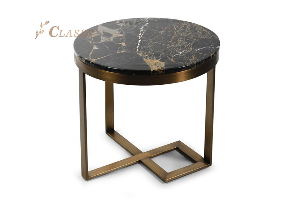 Luxury Marble Side Table With Brushed Stainless Steel Base