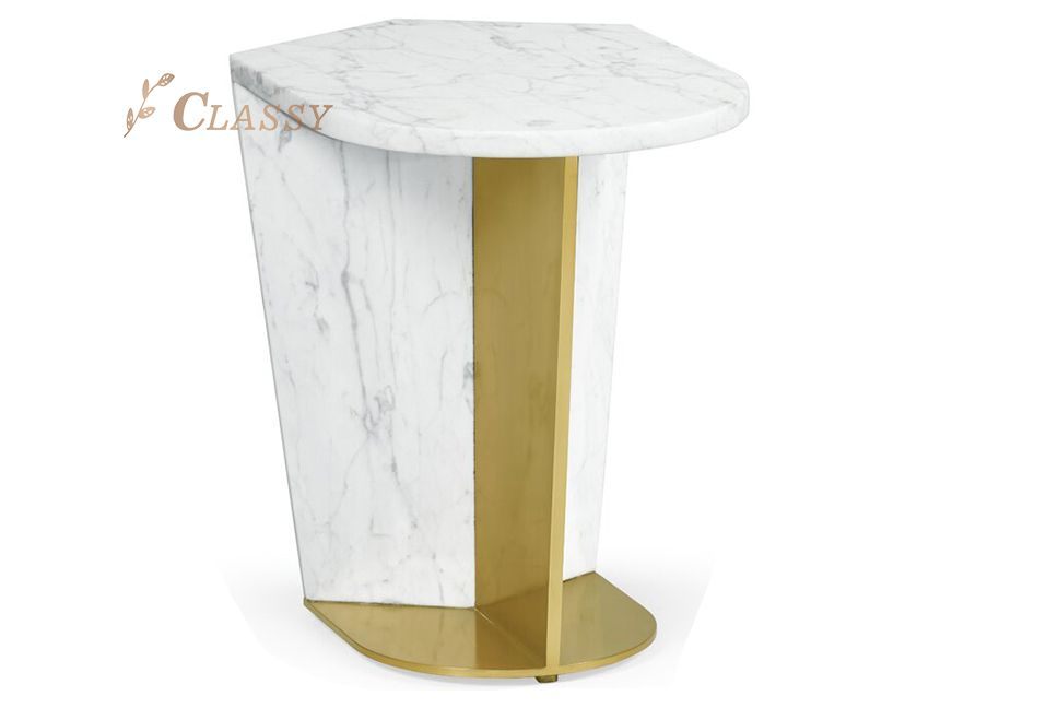 Luxury Marble Side Table With Golden Stainless Steel Base
