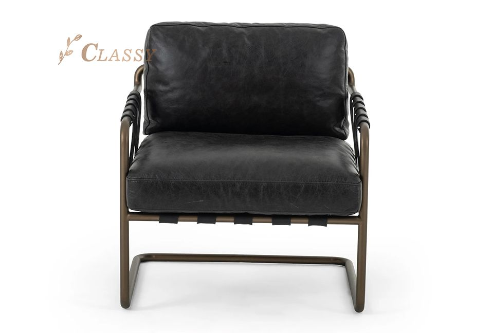Luxury Leather Armchair With Brass Stainless Steel Frame