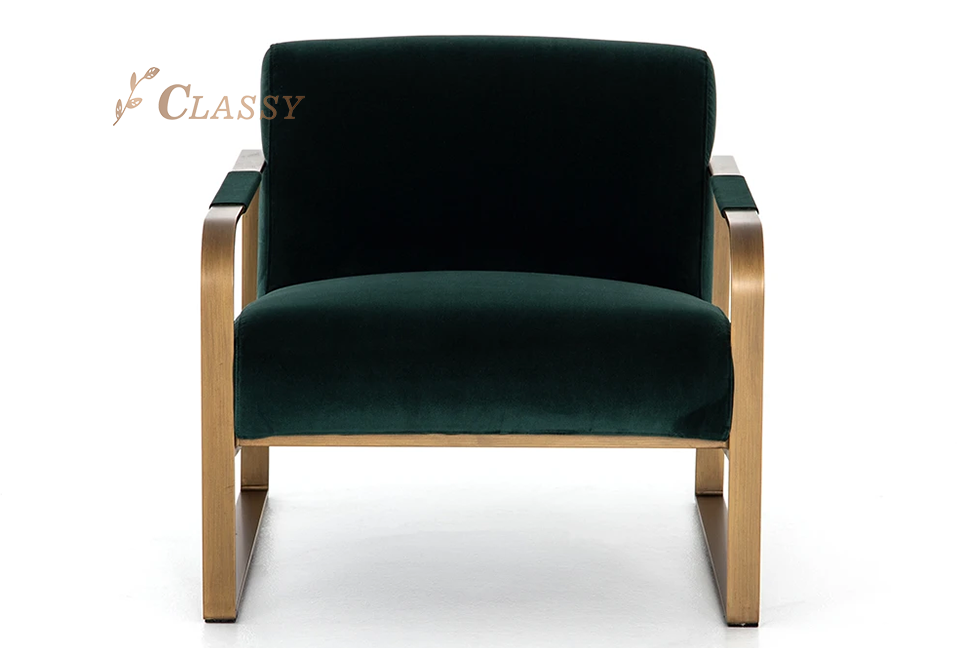Luxury Velvet Lounge Chair With Brass Stainless Steel Frame