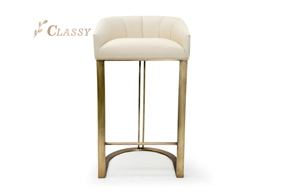 Brushed Metal Leather Bar Chair