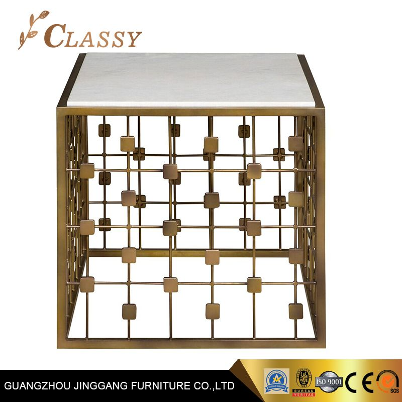 Luxury Square Mables Side Table With Brass Base