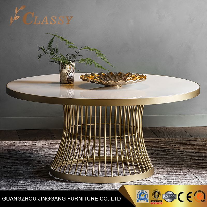 Luxury Marble Dining Table With Wire Stainless Steel Base